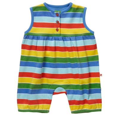 Piccalilly Seaside rainbow stripe organic shortie romper