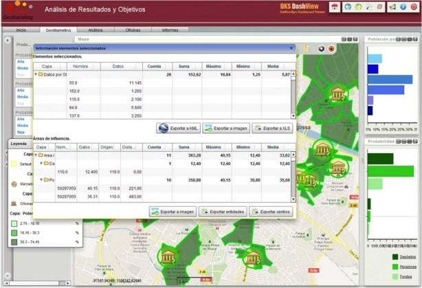 Geosmart banca, exportación a google earth imagen excel