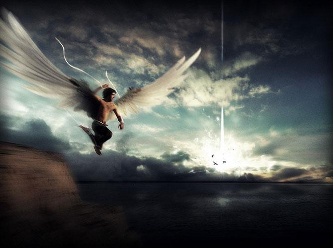 Szikláról leugró szárnyas férfi