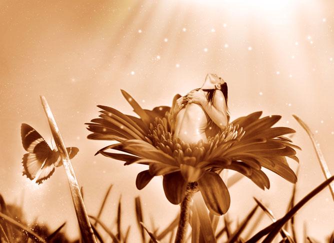 Egy virágból kinyíló meztelen női alak a fény felé emeli tekintetét.