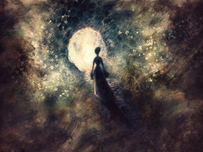 Festmény; női alak sétál az ösvényen a fény felé.