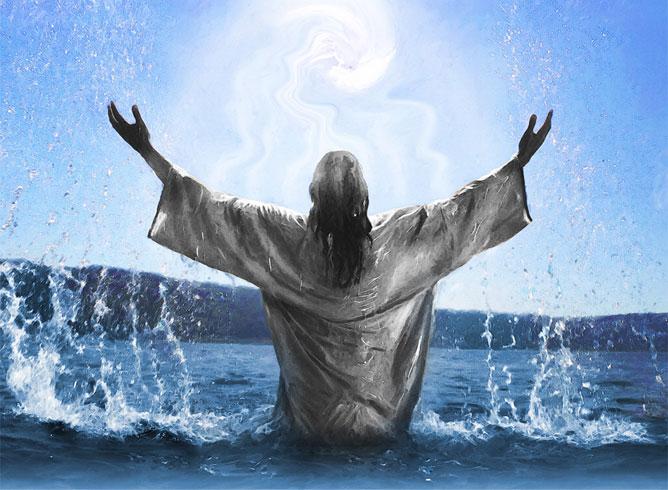 Jézus az óceánban kürölötte energiával.