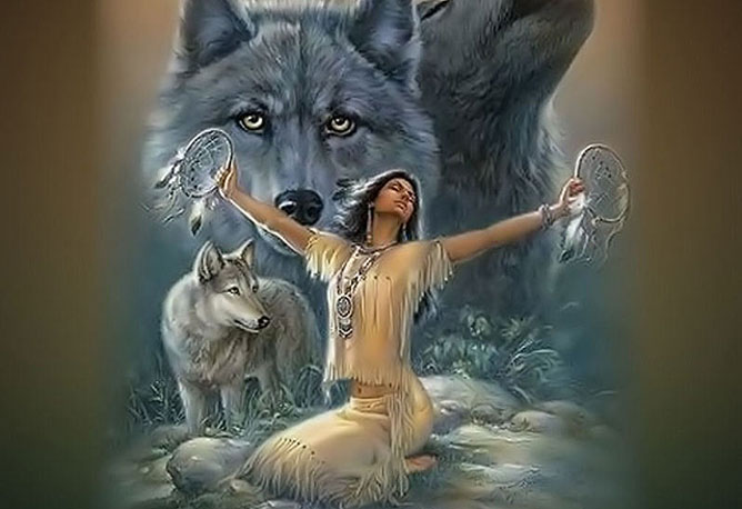 Indián lány álomcsapdával és farkasokkal.