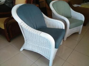 White Hawaii Wicker Single Chair