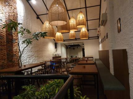Rattan lamp shade @ wheelers cafe