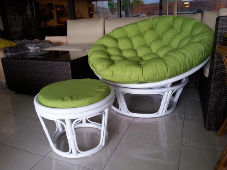White Rattan Papasan Chair