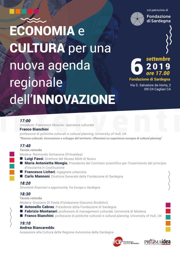 EconomiaCultura programma v1107 Franco Bianchini a Cagliari per un convegno su economia e cultura