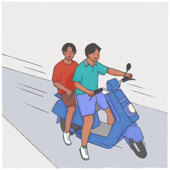 This image shows an illustration of two young boys on a scooter