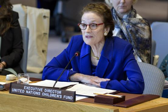 UNICEF Executive Director Henrietta Forere at the UN Security Council's open debate on ensuring equal access to COVID-19 vaccines in conflict and insecurity-affected contexts