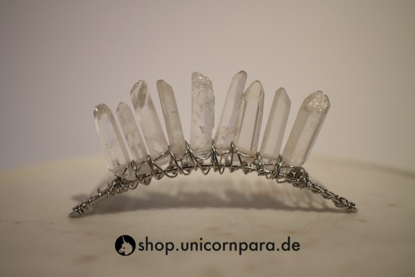 06 clear quartz crystal point tiara six