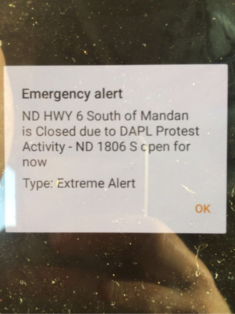 """Extreme"" emergency alert received via text message by a water protector."
