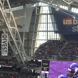 Massive #DivestFromDAPL Banner Unfurled During Vikings Game at US Bank Stadium
