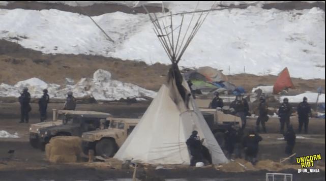 North Dakota Dismantles #NoDAPL Oceti Camp F23-invade8-tipi