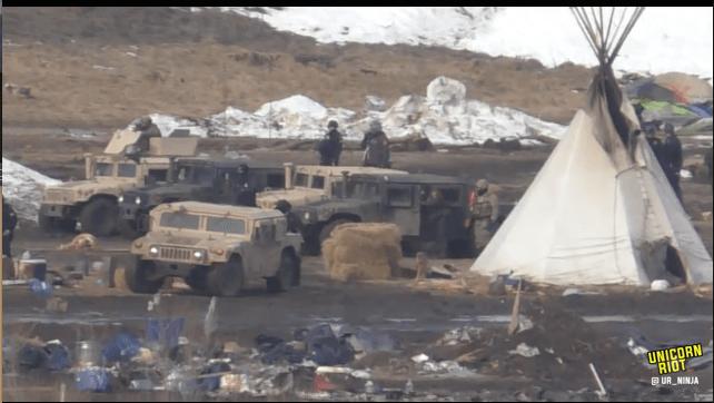 North Dakota Dismantles #NoDAPL Oceti Camp F23-invade9-tipi-hmv