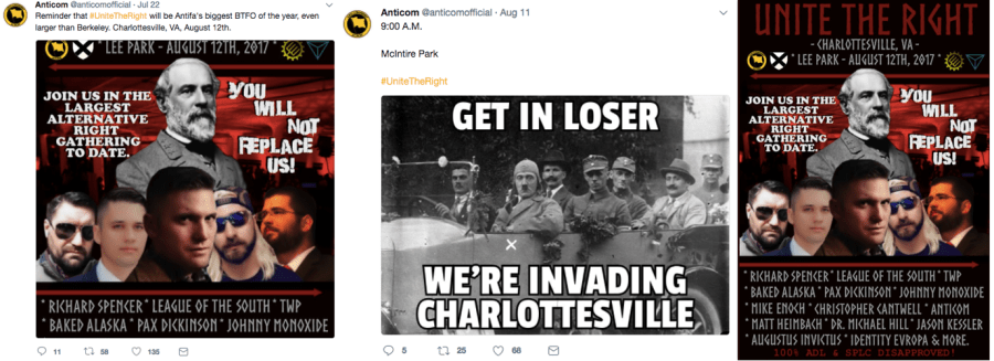 Anticom's Charlottesville materials highlighted their affiliation with white supremacists, using images of Adolf Hitler, Richard Spencer, Matthew Heimbach of the Traditional Workers Party, 'Baked Alaska' (Anthime 'Tim' Gionet) and 'Augustus Sol Invictus' (Austin Gillespie) as well as League of the South, TWP and Identity Evropa logos alongside their own.