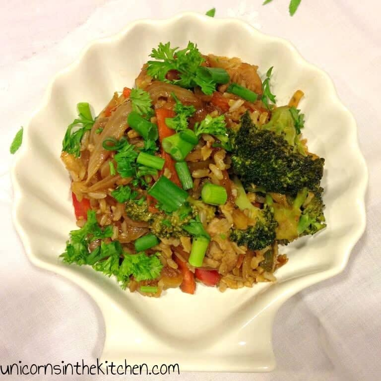 Chicken and veggies fried brown rice unicorns in the kitchen its so easy to make fried rice at home if you keep the ratios of spices and sauces and that really depends on your and your familys taste ccuart Choice Image