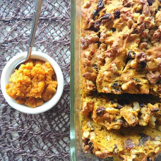 raisin pumpkin nut bread is perfect for fall afternoons with a cup of coffee.