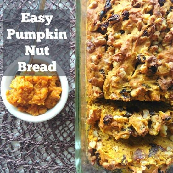 Pumpkin nut bread is an easy bread that you can make in no time. This nut bread recipe is extra flavorful thanks to pumpkin, raisins and different spices. It's also super simple to make.#pumpkin #pumpkinrecipes #pumpkinbread #fallrecipes #nutbreadrecipe