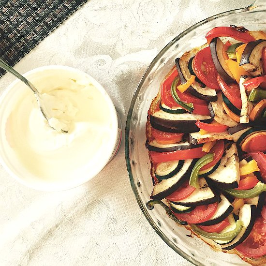 An easy French dish, vegetarian and delicious. Your kitchen will smell like a French kitchen. Bon Appetite!