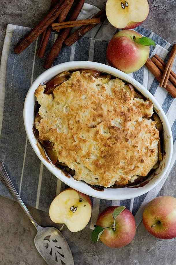 Caramel apple cobbler is a delicious apple dessert that's perfect for any day! This easy apple cobbler is made with fresh crisp apples cooked in a tasty caramel sauce.