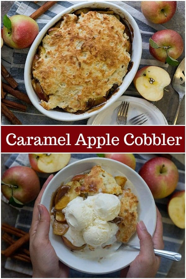 Caramel apple cobbler is a delicious apple dessert that's perfect for any day! This easy apple cobbler is made with fresh crisp apples cooked in a tasty caramel sauce. #applecobbler #appledessert #applerecipes