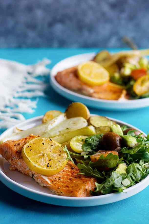This is a healthy salmon recipe and you can serve it with arugula salad.