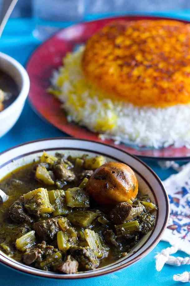 serve Persian celery stew with saffron rice.