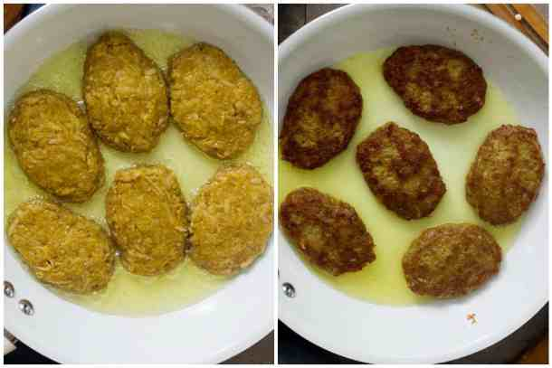 Shape the patties and fry them in some oil for about 5-8 minutes on each side until golden brown.
