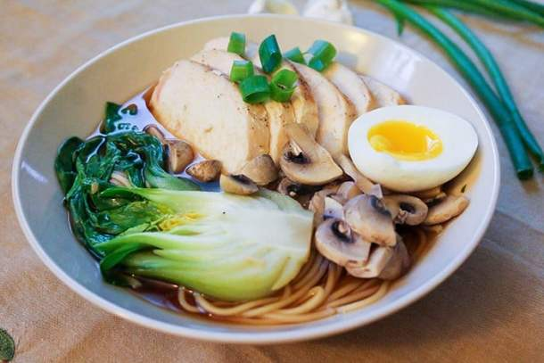 Chicken ramen is perfect for weeknight dinners. Top with eggs, chicken and bok choy.