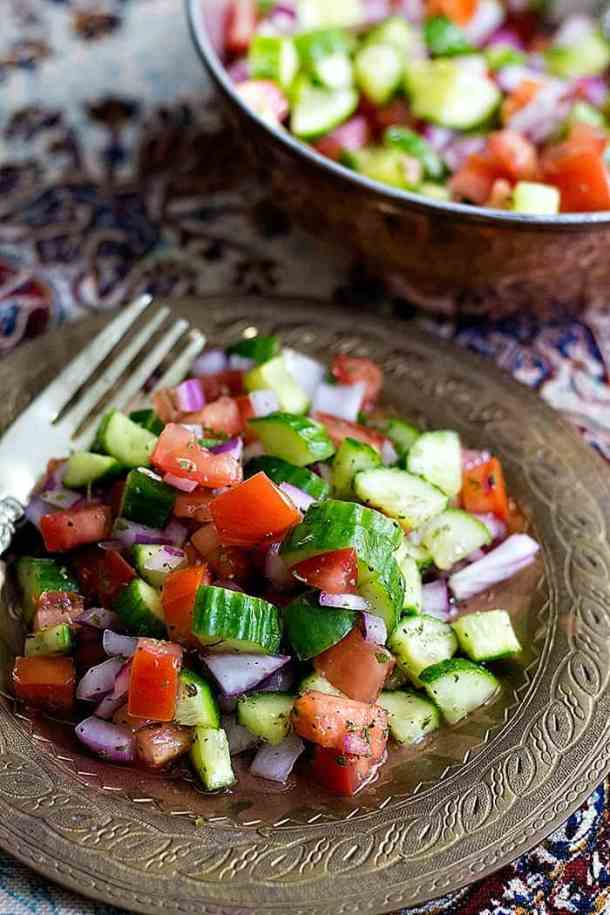 Salad Shirazi is a light and easy Persian salad that is a delicious alternative to the usual side dishes. It's refreshing, healthy and very simple to make.