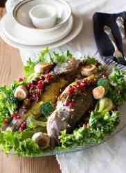 Stuffed fish a new way of serving fish that is very tasty! The filling includes pomegranates and walnuts!