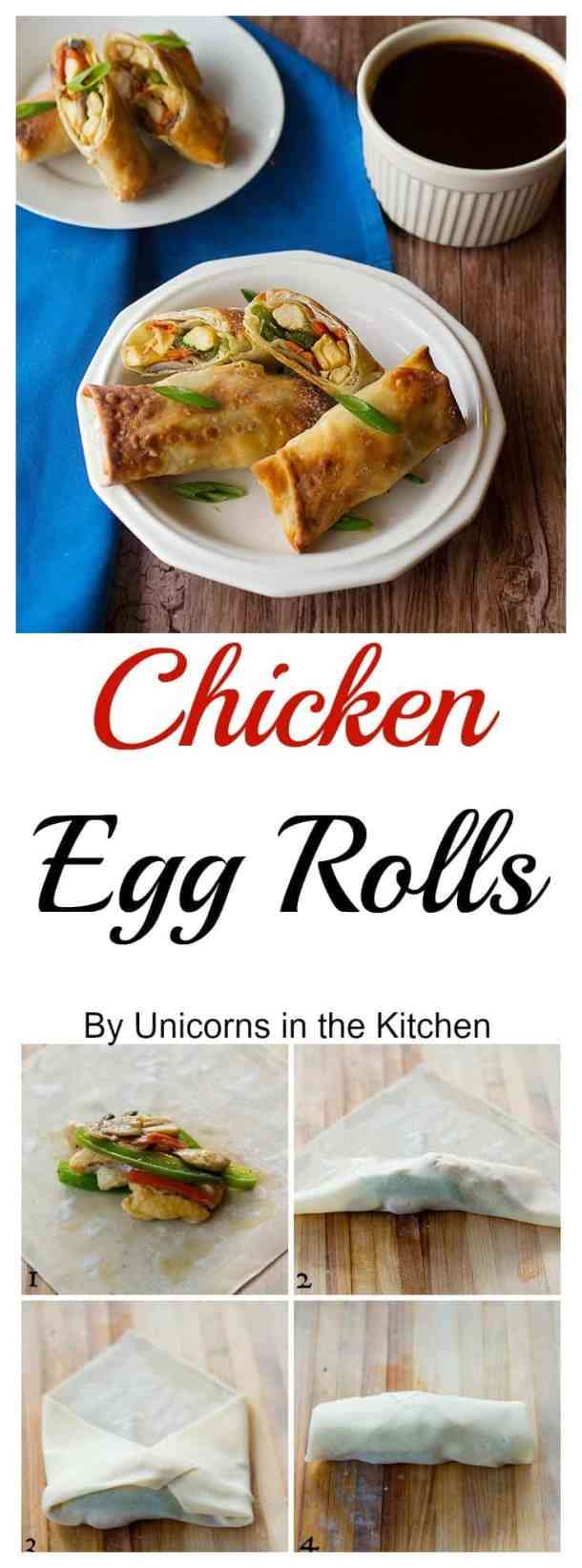 Delicious Egg Rolls that are baked instead of fried. Served with a sauce that keeps your diet balanced! Deliciousness without the guilt!