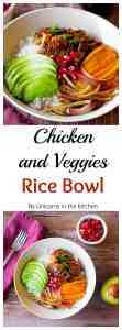 Turn the boring leftover chicken into an outstanding dish with this recipe! Chicken and veggie rice bowl is easy, pretty and full of flavor!