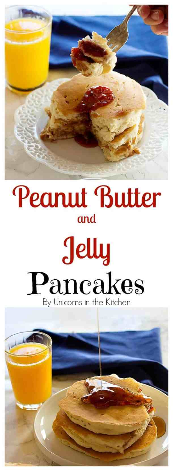 Peanut Butter and Jelly Pancakes are two favorite breakfast foods in one! They are fluffy with a center of creamy peanut butter and jelly. It can't get any better!