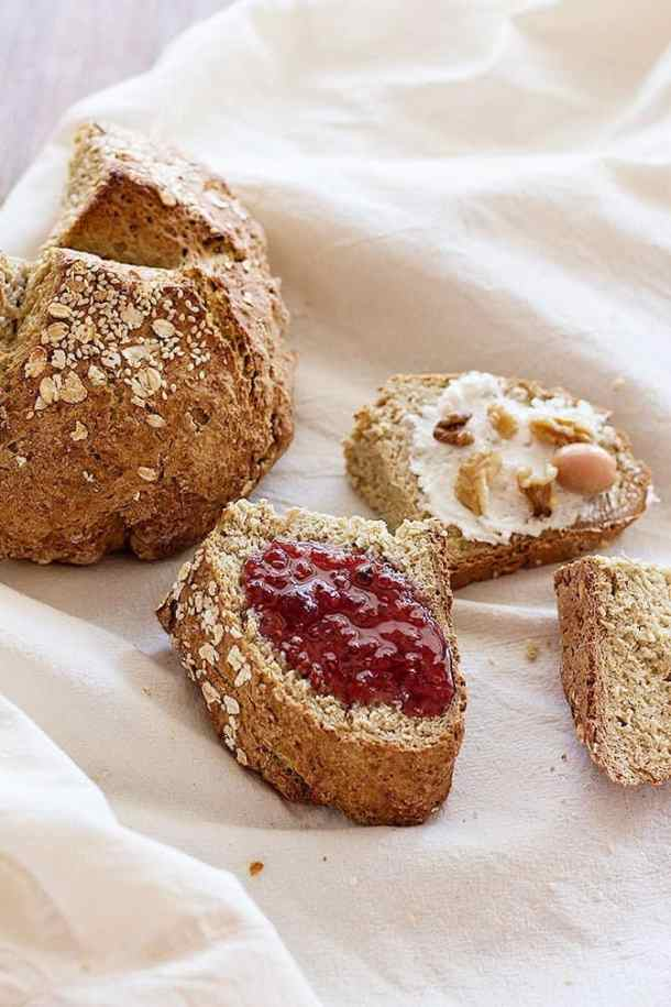 This Easy Irish Soda Bread comes together in less than one hour and is perfect for breakfast. You can make it in different variations by adding different seeds and dried fruit.