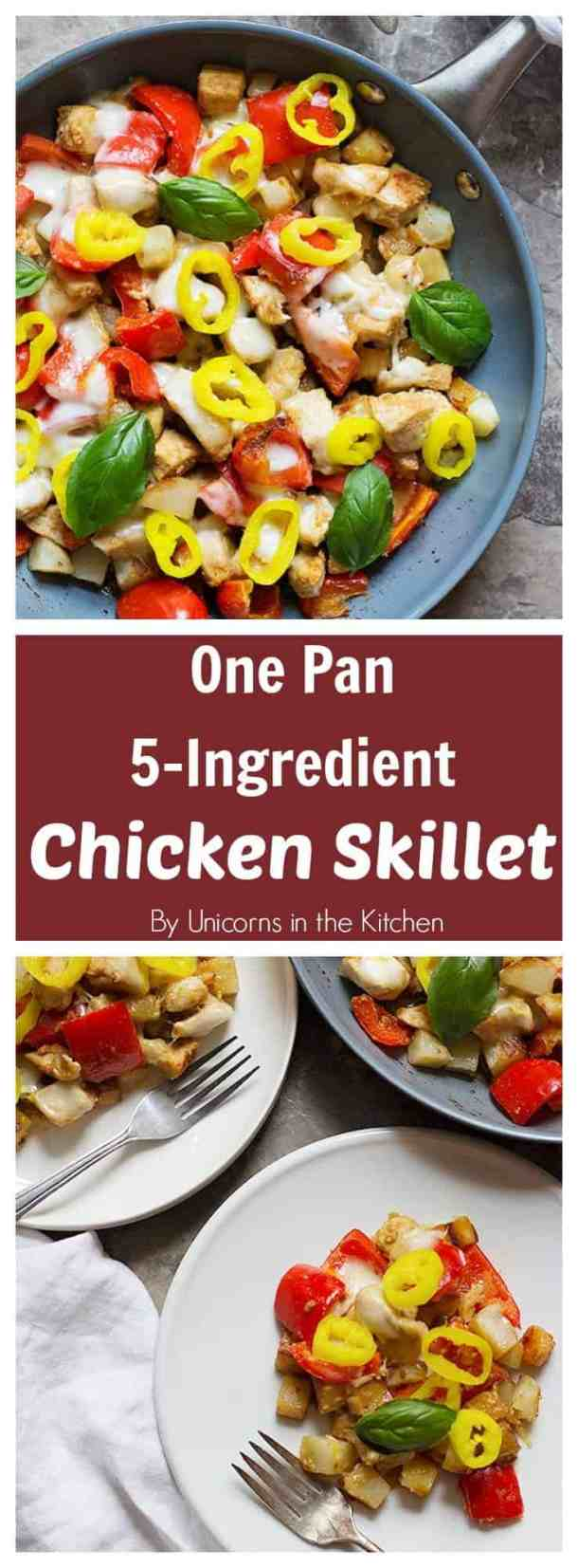 This one pan 5-ingredient chicken skillet is perfect for weeknight dinners as it comes together in 30 minutes. The final addition of pepper rings gives a bold flavor to the dish!
