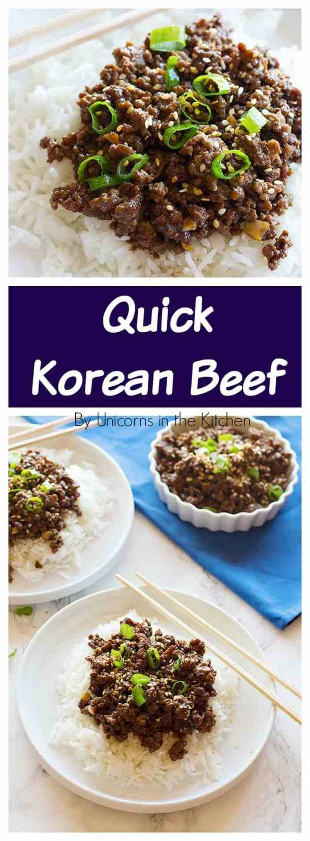 Quick Korean Beef is a family favorite that comes together in less than 25 minutes and tastes better than take out. Serve it over Jasmine rice and have a full meal in no time.