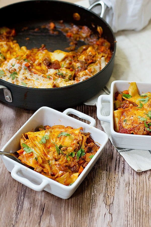 """This cheesy lazy one pot lasagna is the perfect answer to """"What should I make tonight?"""". It's made with ingredients that you already have at hand, and there's an easy shortcut!"""