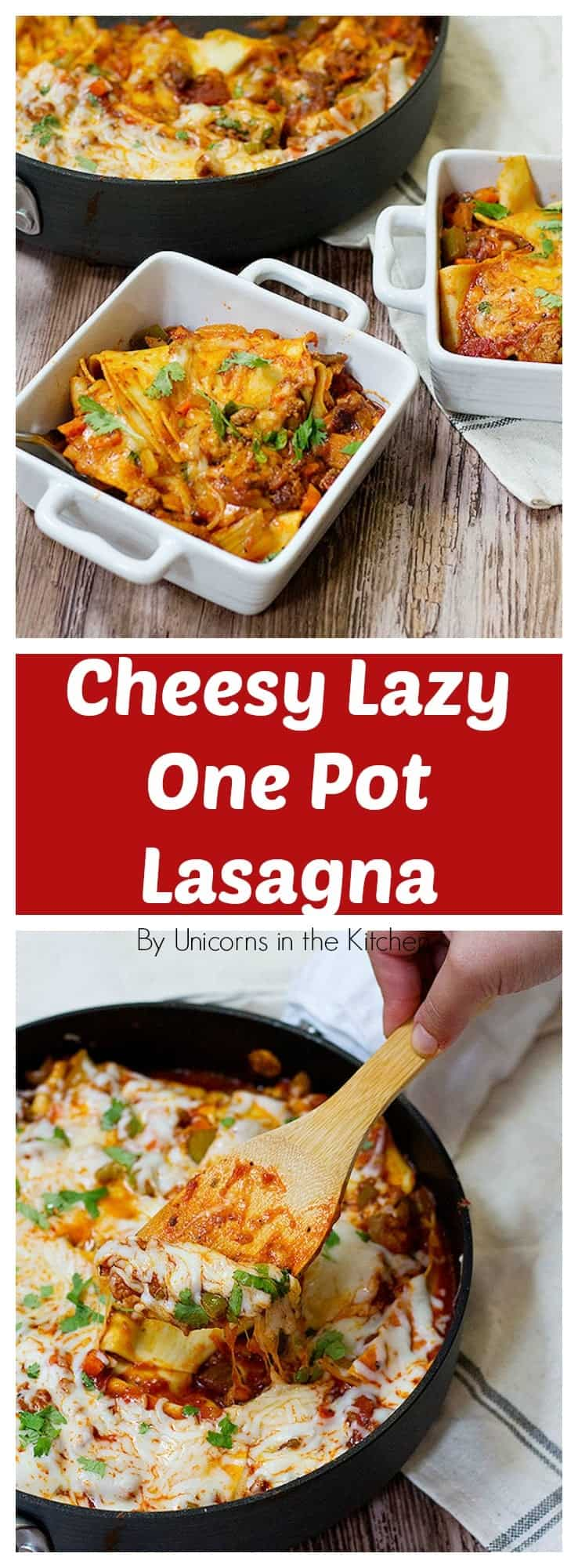 This cheesy lazy one pot lasagna is the perfect answer to