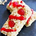 Gooey Rice Krispie Treats with with SweeTARTS College Gummies