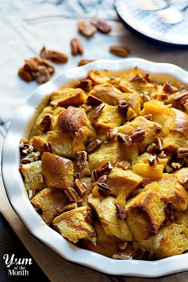 This Pumpkin Bread Pudding is perfect for both dessert and breakfast.