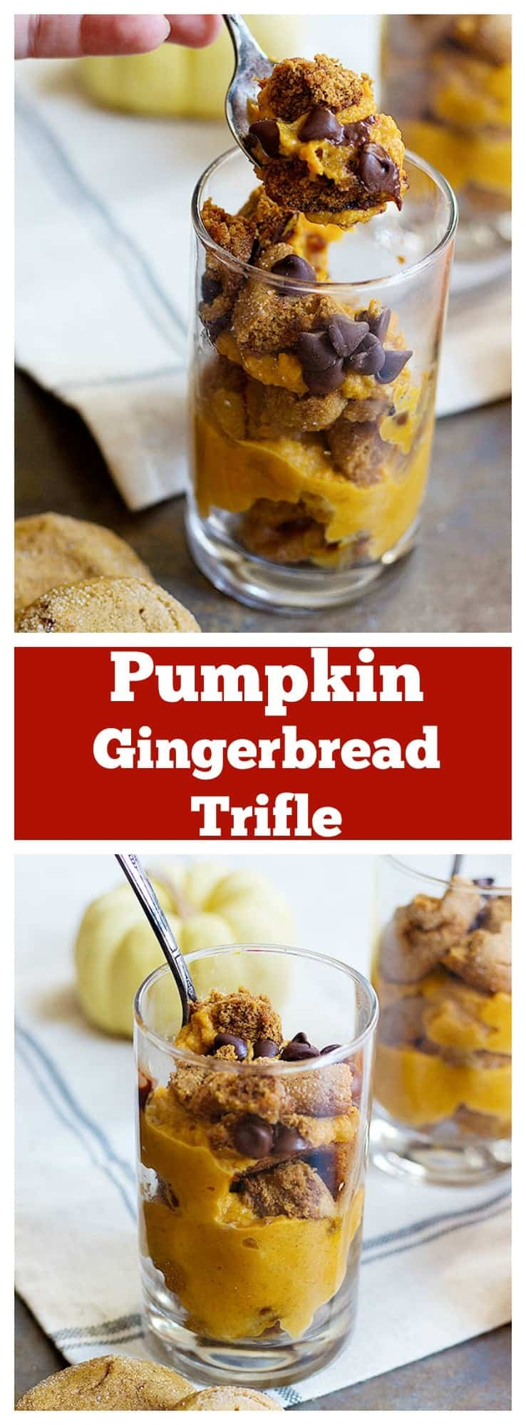 Pumpkin gingerbread trifle is an easy dessert you can make this holiday. It needs only a few ingredients, comes together in minutes and can be made in advance of your holiday gatherings!