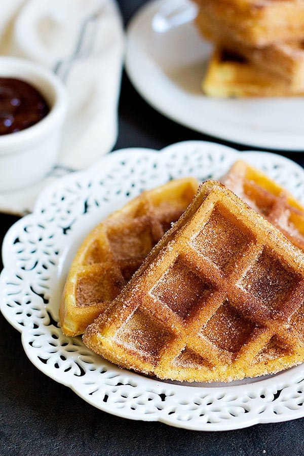 churro waffle recipe is easy and quick. The cinnamon sugar flavor is great.