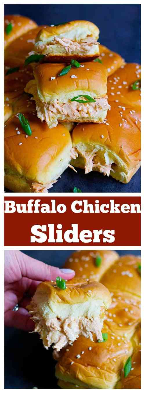 Buffalo chicken sliders are so simple to make and can easily feed a crowd. Creamy gooey sliders packed with flavor and heat from buffalo sauce!