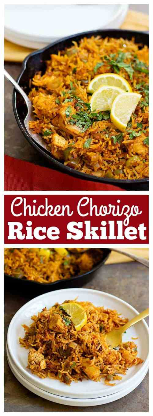 Chicken Chorizo Rice Skillet is an easy one pan dish that uses a few ingredients with maximum flavor. It's perfect for weeknight dinners or a friendly gathering!