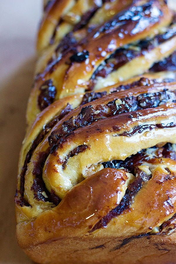 Walnut Babka recipe made with dates and covered with simple syrup makes a delicious treat.