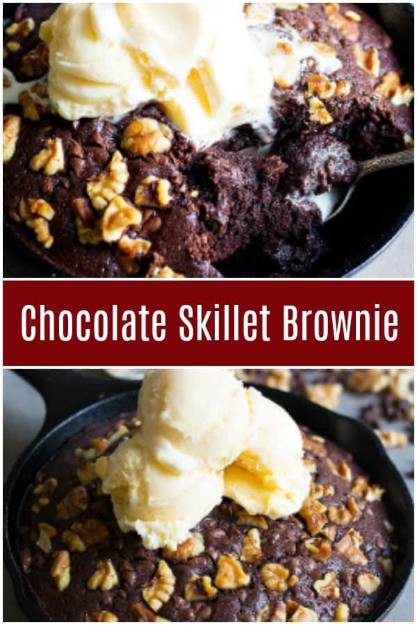 Nothing beats a good ooey gooey Double Chocolate Walnut Skillet Brownie with a large glass of milk. You'll need only a few ingredients to make this delicious skillet brownie!