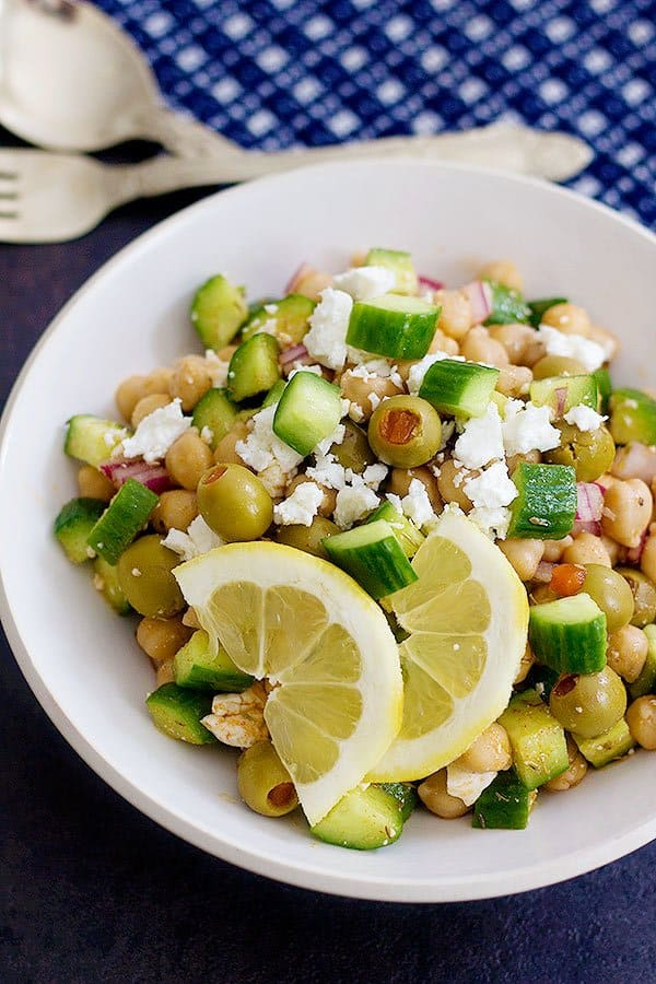 Mediterranean chickpea salad is filling and perfect for lunch.
