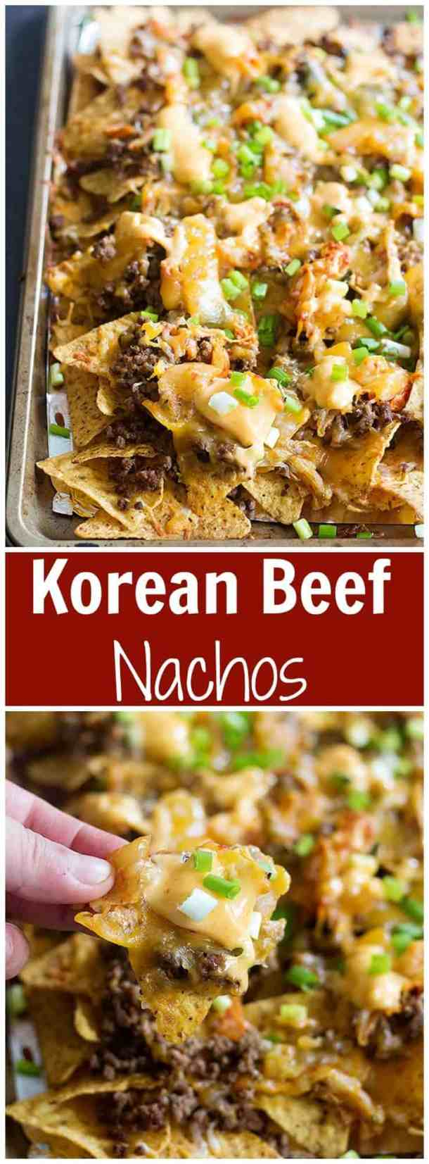 Korean Beef Nachos are a new twist on traditional nachos. The delicious Korean beef topped with Mexican blend cheese and served with sriracha mayo is an unbeatable combination! #koreanbeef #koreanbeefrecipe #groundbeefrecipe