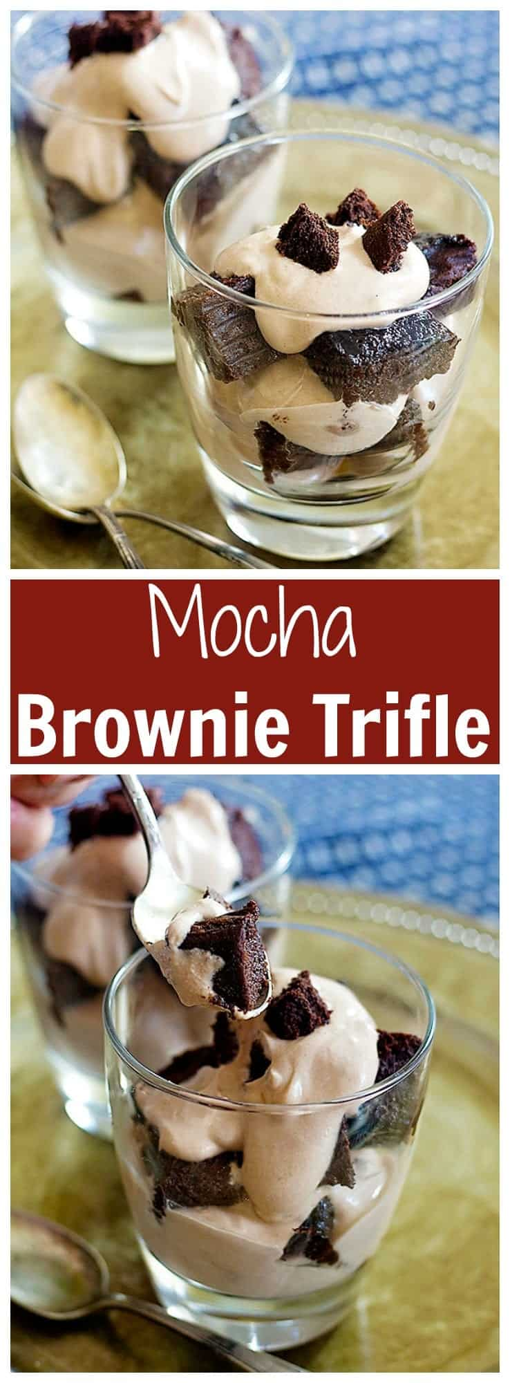 Mocha Brownie Trifle is a great choice for chocolate lovers! The combination of mocha and brownie layered with luscious mocha cream tastes perfect!